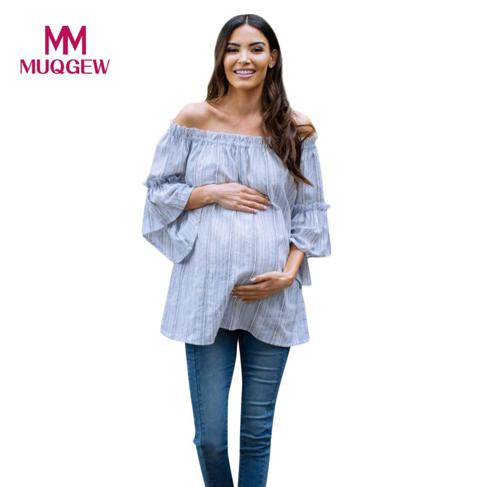 Pregnant Women Nursing T-Shirt Maternity Stripe Off-Shoulder Blouse Tops Clothes Pregnancy Shirt Women's Tops Shirts Blouses #EW