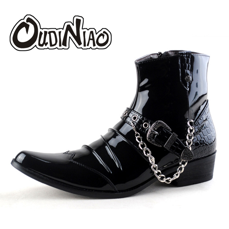 OUDINIAO Fashion Classic Pointed Toe Men Black Ankle Boots Men Zip Chain Buckle Designer Height Increased Fashion Dress Boots oudiniao classic split leather pointed toe warm plush ankle men boots buckle lace up designer fashion winter boots men big size