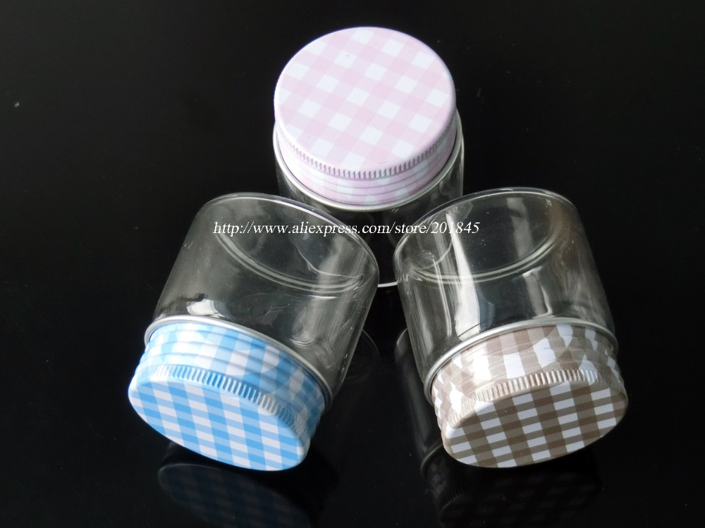 Wholesale 96Pcs Glass Jars Silicone Stopper Metal Cap Empty Bottles Glass Transparent Loose Powder Bottles Containers 50ml