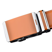 Korean version of mens fashion orange leather belt youth business leisure automatic buckle two-layer cohide TD