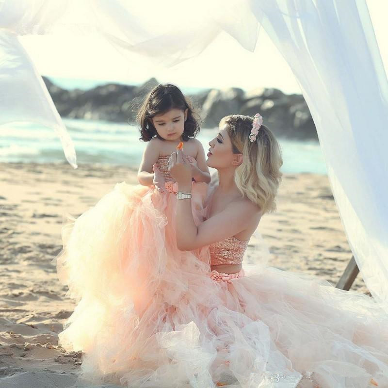 Modest sequined top two pieces mother and daughter party pageant gowns long floor tutu tulle   flower     girls     dresses