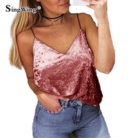 Singwing Women Velvet Tanks Tops Female Sexy V Neck Solid Color Tank Camis Summer Fashion Sleeveless
