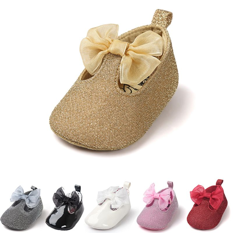 Kid Shoes Newborn Baby Faux Leather Anti-Slip Shoes Glitter Powder Mesh Bowknot Sneakers Droppshipping