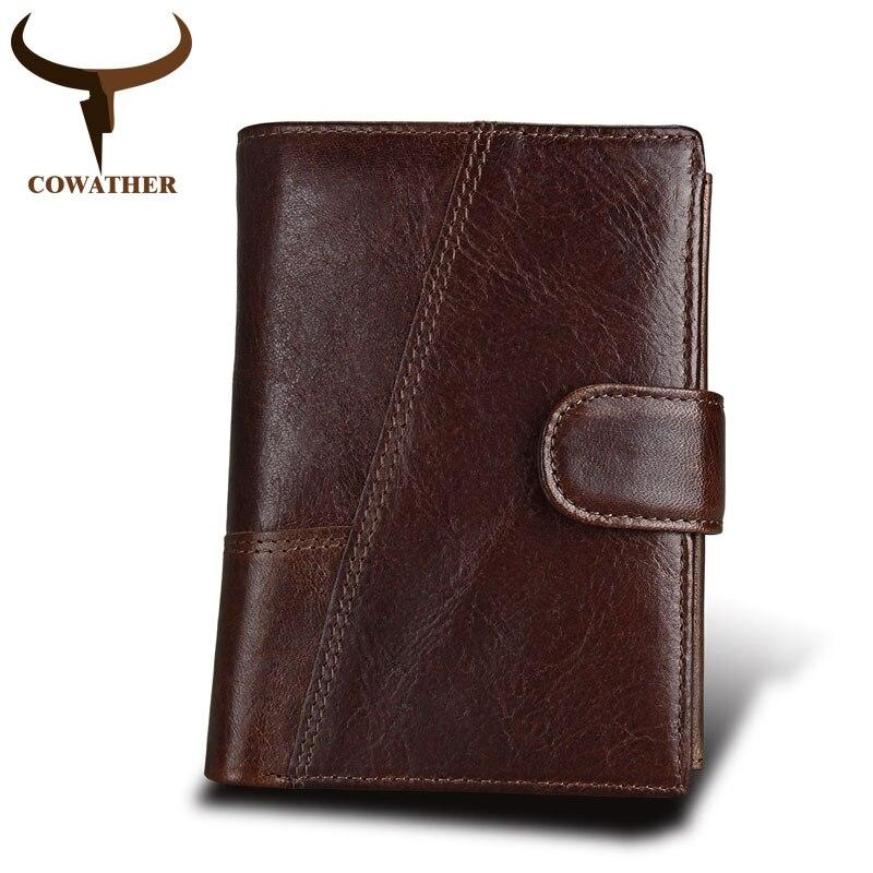COWATHER Crazy horse en cuir hommes Portefeuilles en cuir de vache véritable mâle Bourse portefeuille porte-cartes homme Coin sac MD8230 livraison gratuite