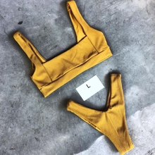 Women Bikini Bandeau Push Up Yellow Pink