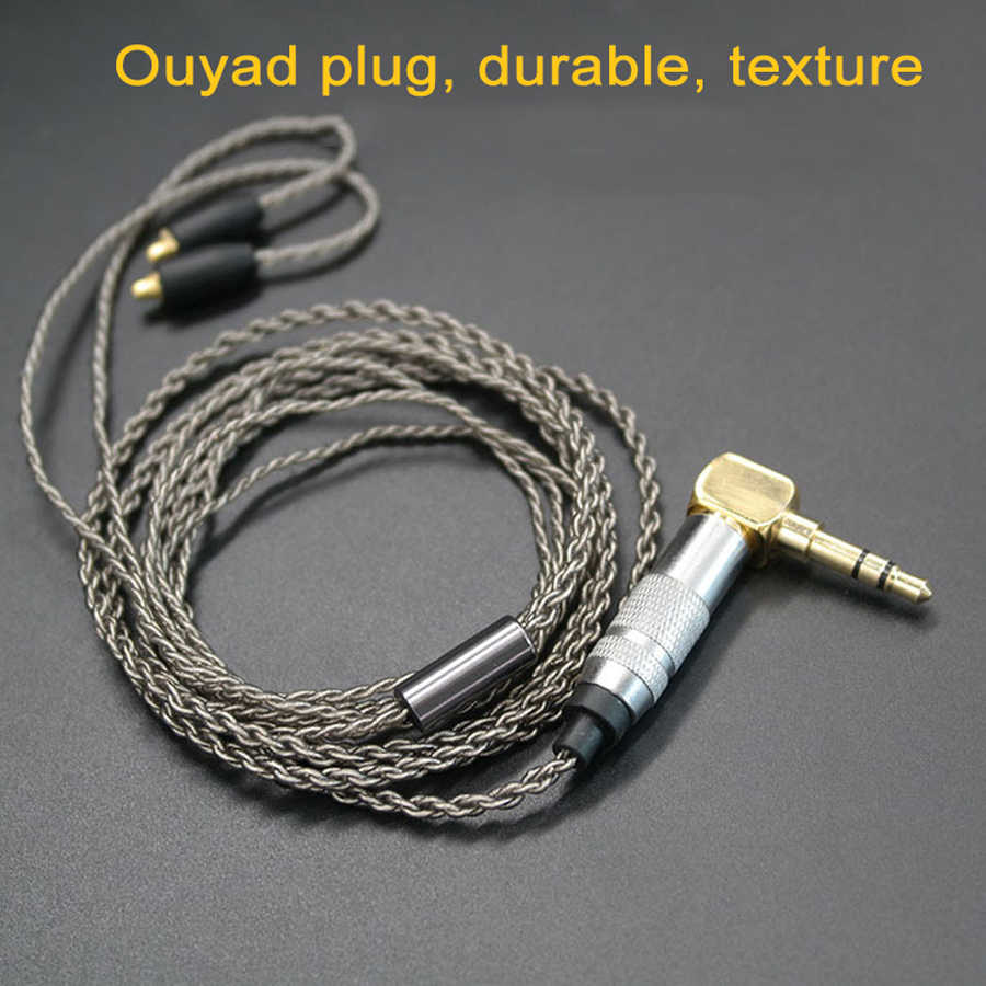 Upgrade DIY MMCX słuchawki Stereo Bass słuchawki HIFI słuchawki douszne Ouyad wtyczka srebrny poszycia linii dla Shure SE215 SE425 SE535 SE846