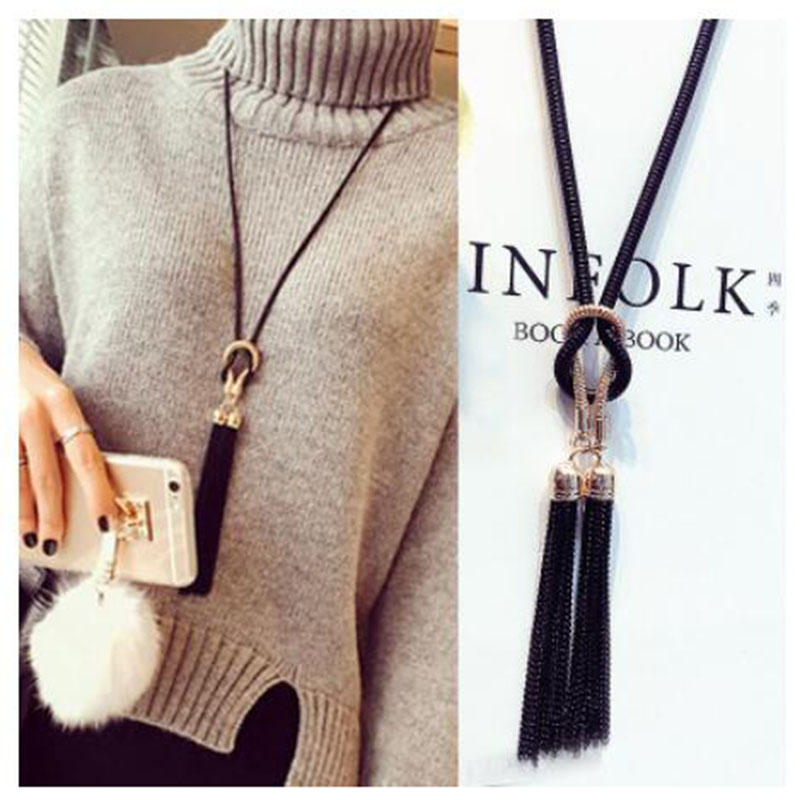 2018 New Arrival Female Pendant Necklace Tassel Long Winter Sweater Chain Necklace Women Necklaces Wholesale Sales(China)