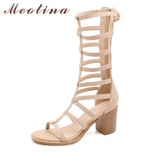Купить с кэшбэком Meotina Gladiator Shoes Women Sandals Natural Genuine Leather Thick High Heels Shoes Real Leather Zipper Sandals Summer Size 3-9