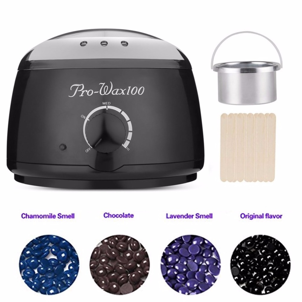 Wax Warmer - 110V/220V Waxing Hair Removal Kit With 4 Hard Wax Beans And 10 Wax Applicator Sticks