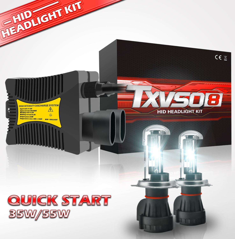 TXVSO8 55Wx2 H4 Xenon HID Headlamps Replace KIT Bulb Car Headlight 9003 HB2 Hi/lo 3000K 4300K 5000K 6000K 8000K 10000K 12000k