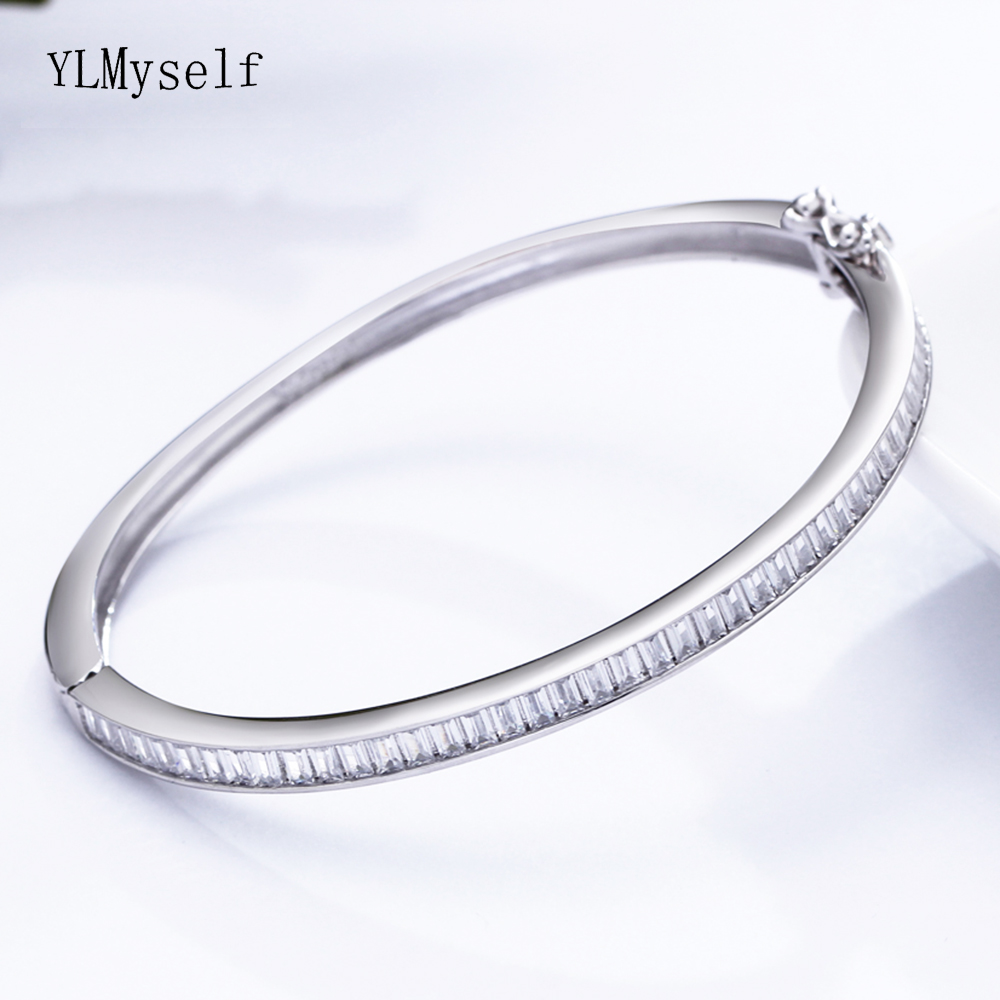 5.6 cm diameter 925 silver bangle jewelry shiny square stones top quality jewellery luxury sterling silver Bracelet & bangle