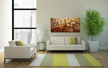 Unframed Panel Yellow Rich Tree Palette Knife Painting Home Decor Hand Painted Oil For Living Room Wall Art Picture