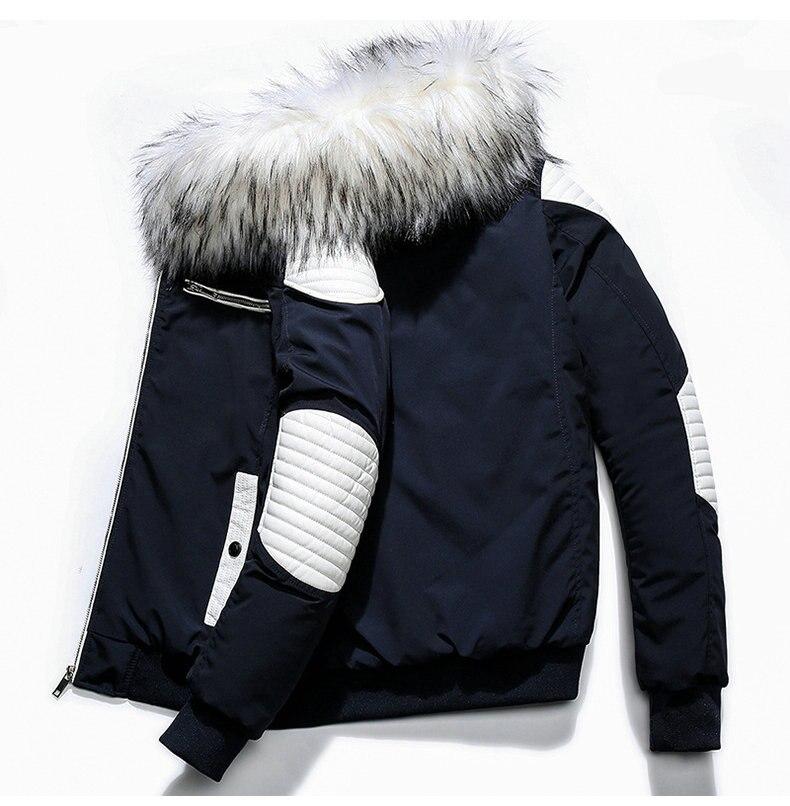 Autumn Winter Jacket Men 18 New Big Fur Hooded Thick Warm Mens Winter Coats Patchwork Color Windproof Parka Men Outwear 6