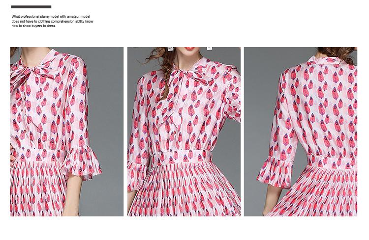Woman Horn Sleeve Printed Pink Summer Dress Womens Dresses New Arrival 2018 Midi Beach Party Dress Dames Kleding K6012 9
