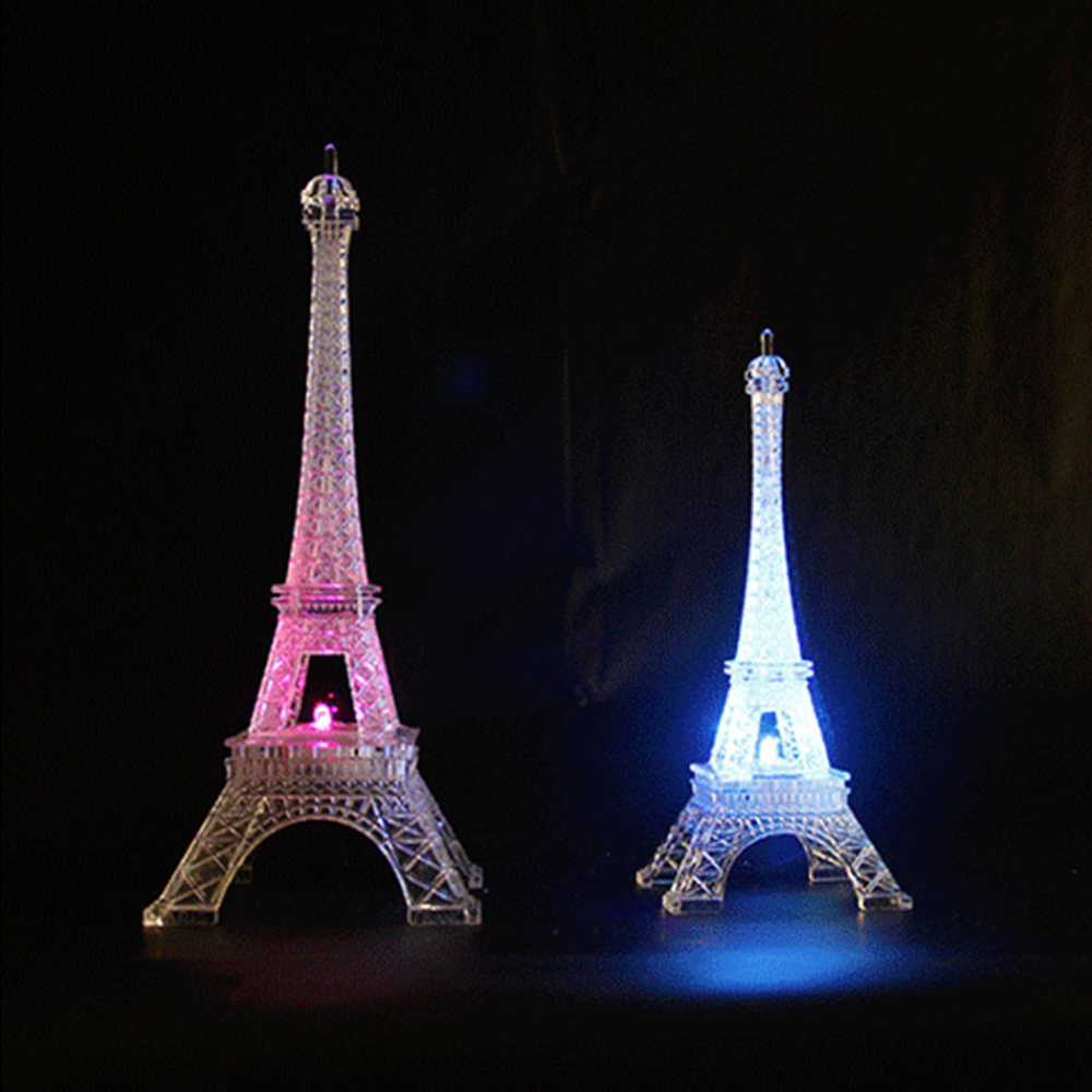 3D Romantic LED France Tower/Paris Tower L M S Size Night Light Bedroom Table Miniature Kids Friends Family Gift Home Decoration