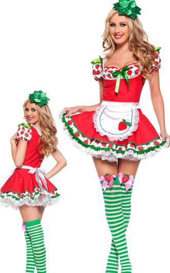Strawberry Costume - Hot Sale Lovely Adult Strawberry Girl Costume 3S1275 Sexy Costumes Women For Halloween
