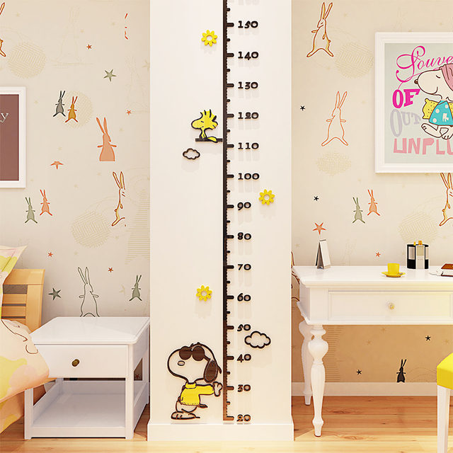 Snoopy Cute Animal Height Measuring Wall Stickers With Children S Acrylic Wallpaper Mural Baby Room Nursery