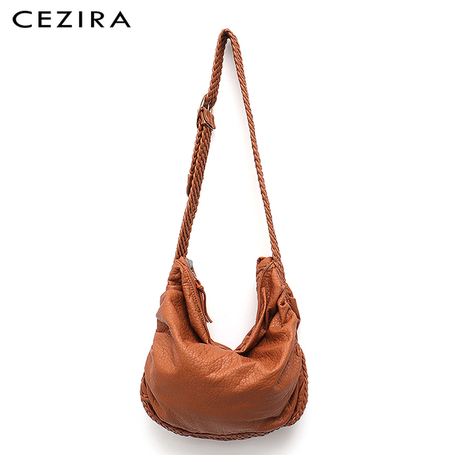 CEZIRA Big Soft Casual Women Bags Girl Wash PU Leather School Handbag Ladies Adjustable Woven Buckle Belt Messenger&Shoulder Bag