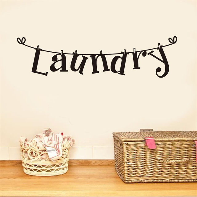 US $1 63 18% OFF|Laundry Room Vinyl Wall Sticker Laundry Signs Toilet  Decals Home Decor Removable Wallpaper Sticker Color Black Wall Arts  Frases-in