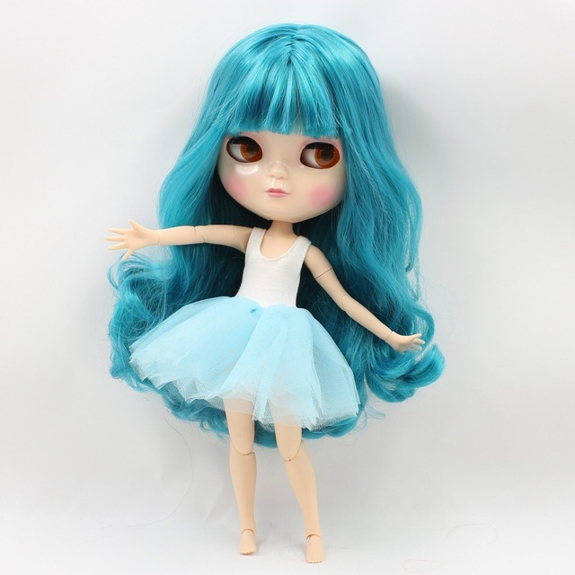 ICY DBS Doll like Blyth Nude Doll Joint Body natural skin with small chest  blue green hair BL4302 free shipping