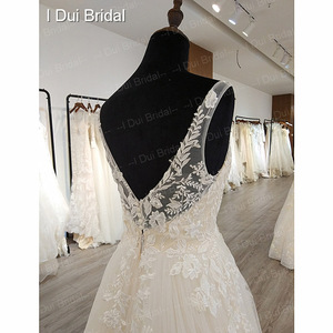 Image 5 - A line Classic Wedding Dress Lace Appliqued Corset Simple Elegant Bridal Gown High Quality Factory Real