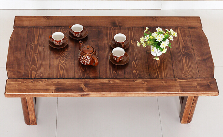 Vintage Wood Table Foldable Legs Rectangle 110cm Living Room Furniture Asian Antique Style Bench Low Coffee
