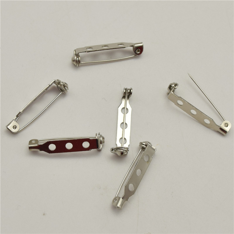 100pcs 25mm High quality Brooch Locking Bar Pin Back with Safety Latch Clasp Back Pins for Crafts locking Safety Clas