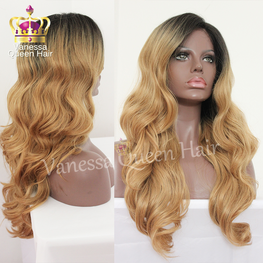 Blonde ombre synthetic lace front wig body wave dark root ...