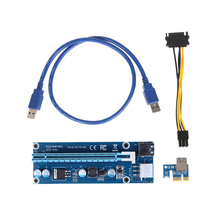 Computer Office - Computer Components - Stock Riser Card USB3.0 6Pin PCI-E1X To 16X Extender Graphic Card Adapter Cable With Sata 15pin To 6pin Power Cable For Mining