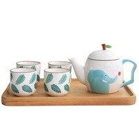 Ceramic Mug Cartoon 1 Pot 4 Cup Cute Teapot Teacup Set Home Office Coffee Milk Teapot Five piece