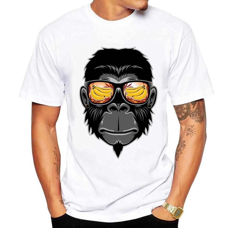 2018 Summer Casual Men's   T  -  Shirt   Funny Cool Monkey Print   T     Shirt   Men White Round Neck Casual Cotton Short Sleeve Tops Tees