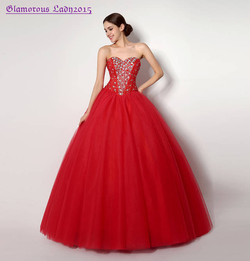 Graceful Ball Gown Red Shining Crystal Sweetheart Prom Dress For Big ...