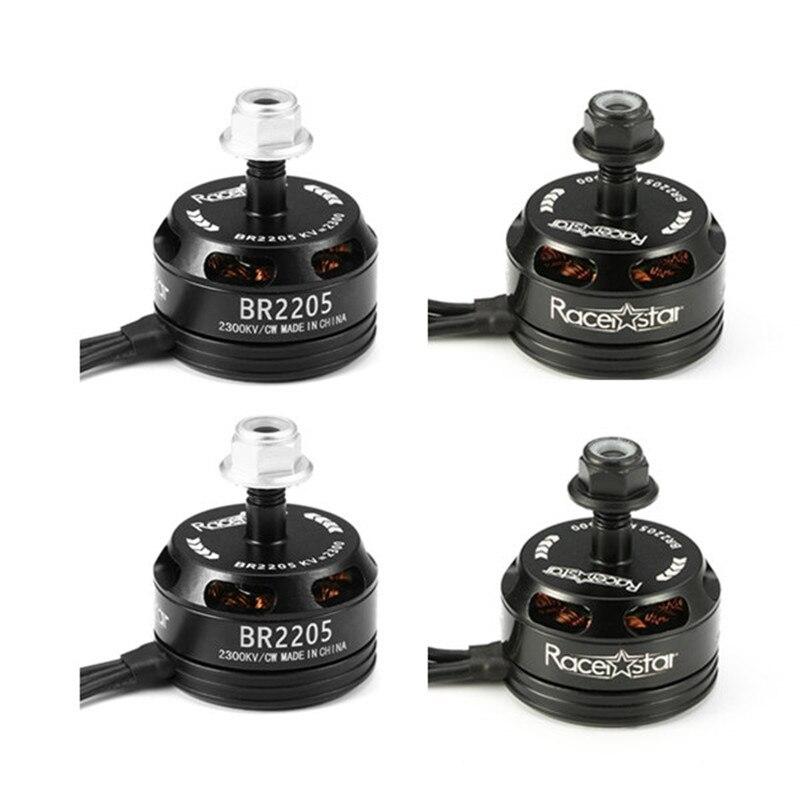 4PCS Racerstar Corrida Edição 2205 BR2205 2300KV 2-4S Motor Brushless CW/CCW Preto Para QAV250 ZMR250 260 RC Drone Quadcopter DIY