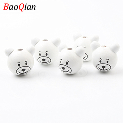 5pcs 29x25mm White Lovely 3D Bear Smiling Wooden Beads for Jewelry Making DIY Pacifier Clip Accessories