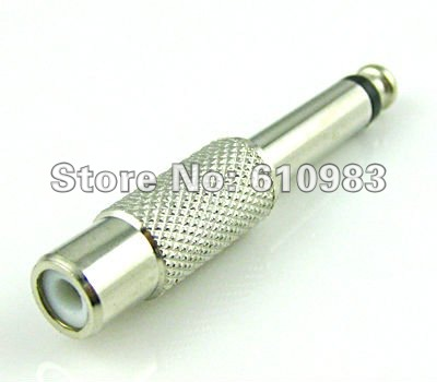 Freeshipping (5 pieces/lot) RCA Jack to 6.35mm mono plug connector adapter nickelplated