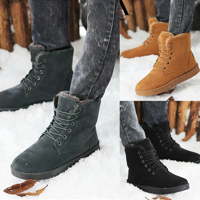 Aliexpress.com : Buy Mens Fur Lined Lace Up Round Toe Ankle Winter ...