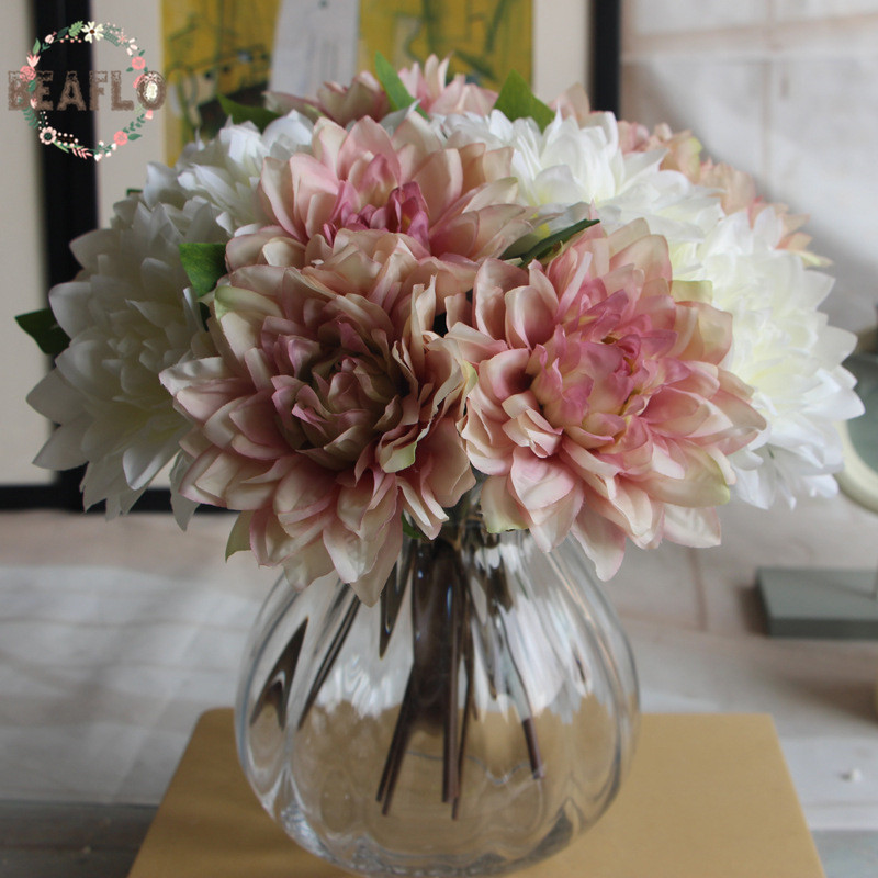 10 Stunning Dahlia Wedding Bouquets: 1Bunch/3PCs Green Artificial Plant Fake Dahlia Bouquet