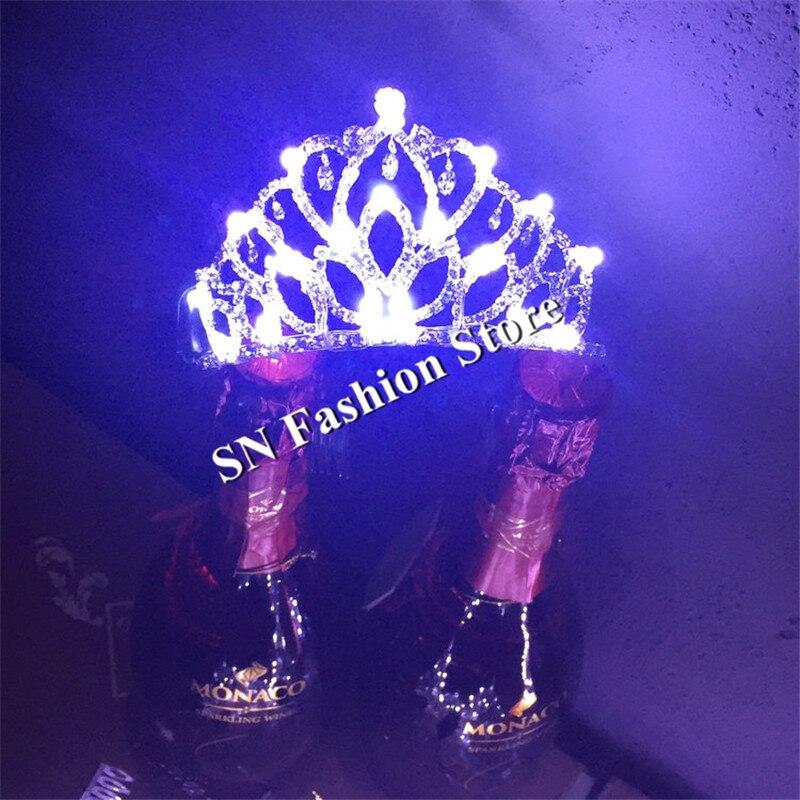 MD12 danse de salon led costumes lumineux couronne de mariage scène costumes chanteur dj led chapeaux saint valentin fille cadeau