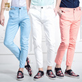 FanZhuan Free Shipping New 2016 men's casual fashion summer ninth thin elastic slim pants candy color embroidery 618018 trousers