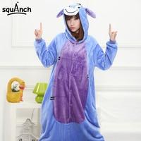 Cartoon Eeyore Donkey Costume Men Women Adult Pajama Blue Animal Cosplay Jumpsuit Festival Party Funny Suit