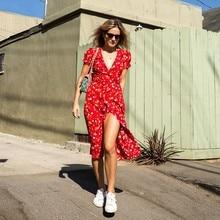 цены на Sweet Red Floral Print A-Line Dress Summer V-Neck Wrap Bow Tie Split Dress 90s Streetwear Casual Dresses Vestido Sundress  в интернет-магазинах