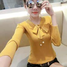 2018 Autumn Winter Casual V-Neck Bow Pullovers Solid Knitted Tops Women Sweaters Long Sleeve Sweater Outwear Pull Femme