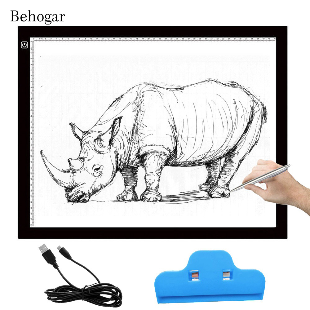 Behogar A3 LED Drawing Board Eyesight protected Touch Dimmable Tracing Table Light Pad Box with Clip for 2D Animation Sketching