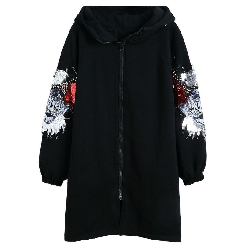 Chaud Manteaux Vintage Manteau Poches Veste Femmes Coton Noir Rivet Oversize Mumuzi À Outwear D'hiver Capuche qzpTFRw