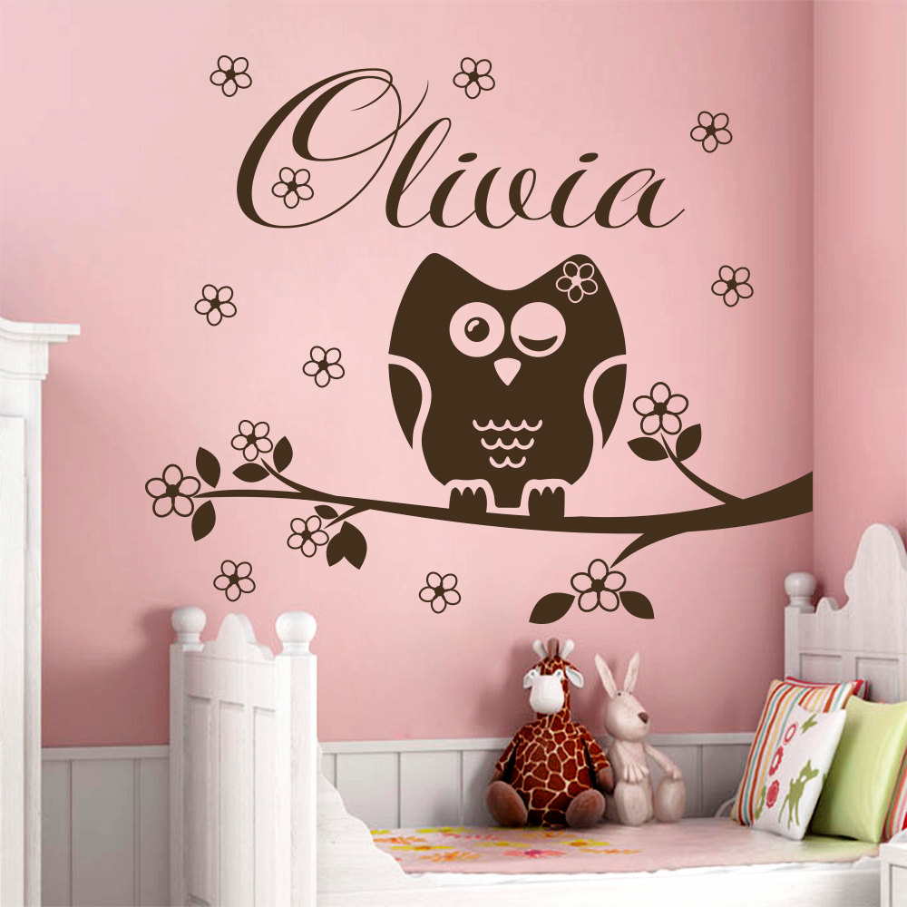 Name Wall Decal Owl Decorations Nursery Baby Girl Room Bedroom Decor Vinyl Decals Custom Personalized Name Stickers Mural YK 8 in Wall Stickers from Home Garden