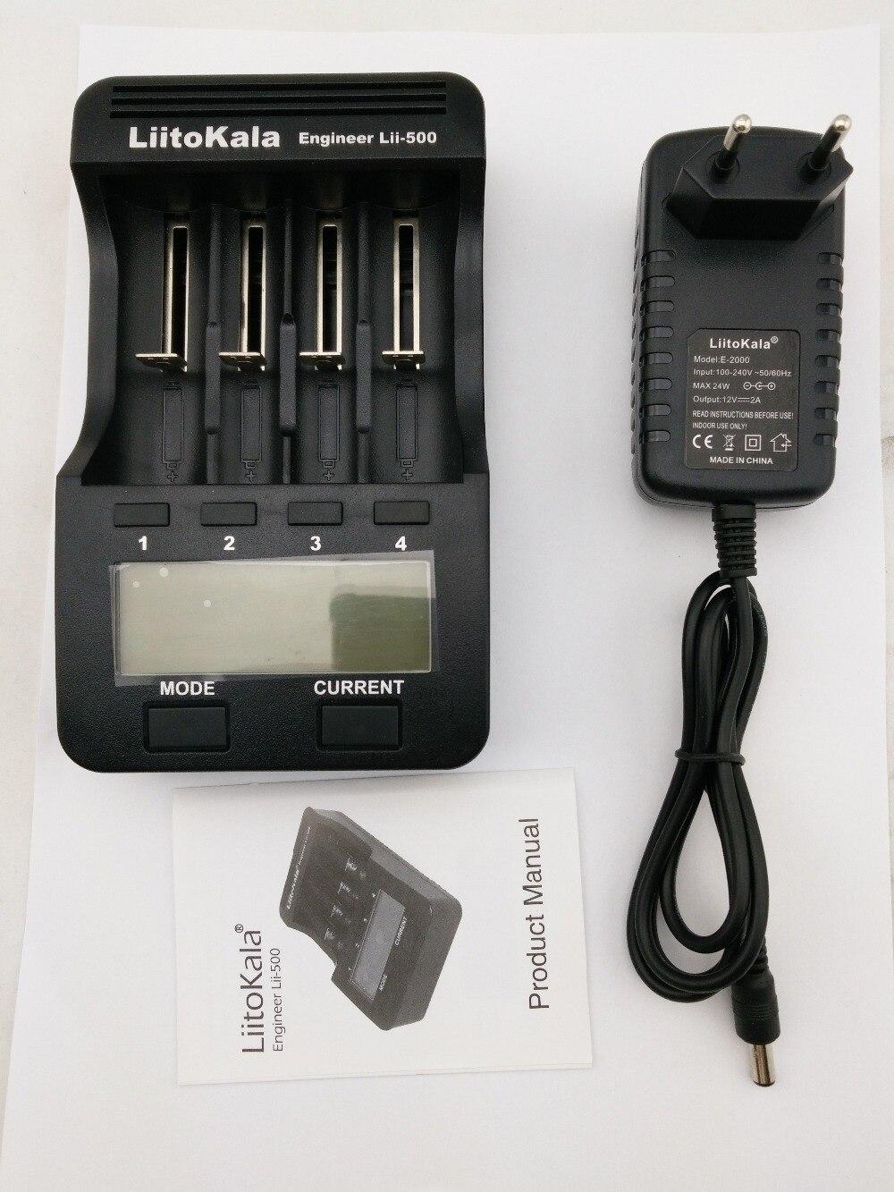 Liitokala lii500 LCD 3.7V/1.2V AA/AAA 18650/26650/16340/14500/10440/18500 Battery Charger with screen+12V2A adapter lii-500 5V1A