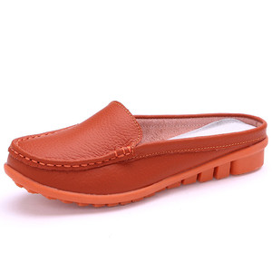 Image 2 - BEYARNE hot summer genuine leather slippers for women shoes flat with low heel sandals comfortable four colours shoes women