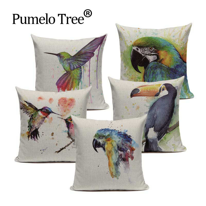 Stylish Parrot Pillow Case Cotton Linen Watercolor Starling Almofadas 45Cmx45Cm Square Home Linen Cotton Bird Pillow Case