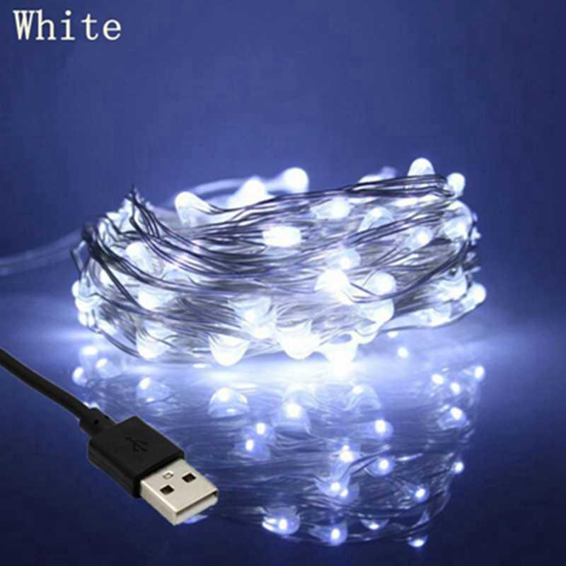 Светодиодный светильник-гирлянда 5 В, 2 м, 5 м, 10 м, 20 м, USB Светодиодная лента, Сказочная Серебряная медная проволока, для помещений и улицы, декоративная Свадебная вечеринка, Рождество