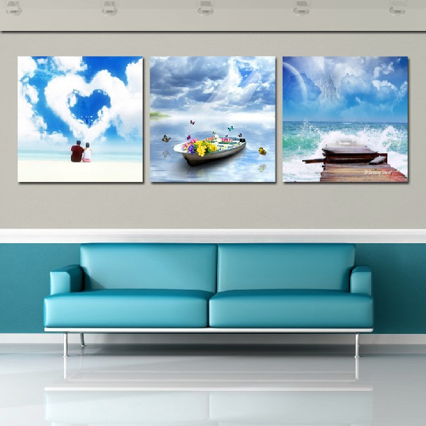 3 panel modern painting home decorative art picture paint on canvas prints couples on boat